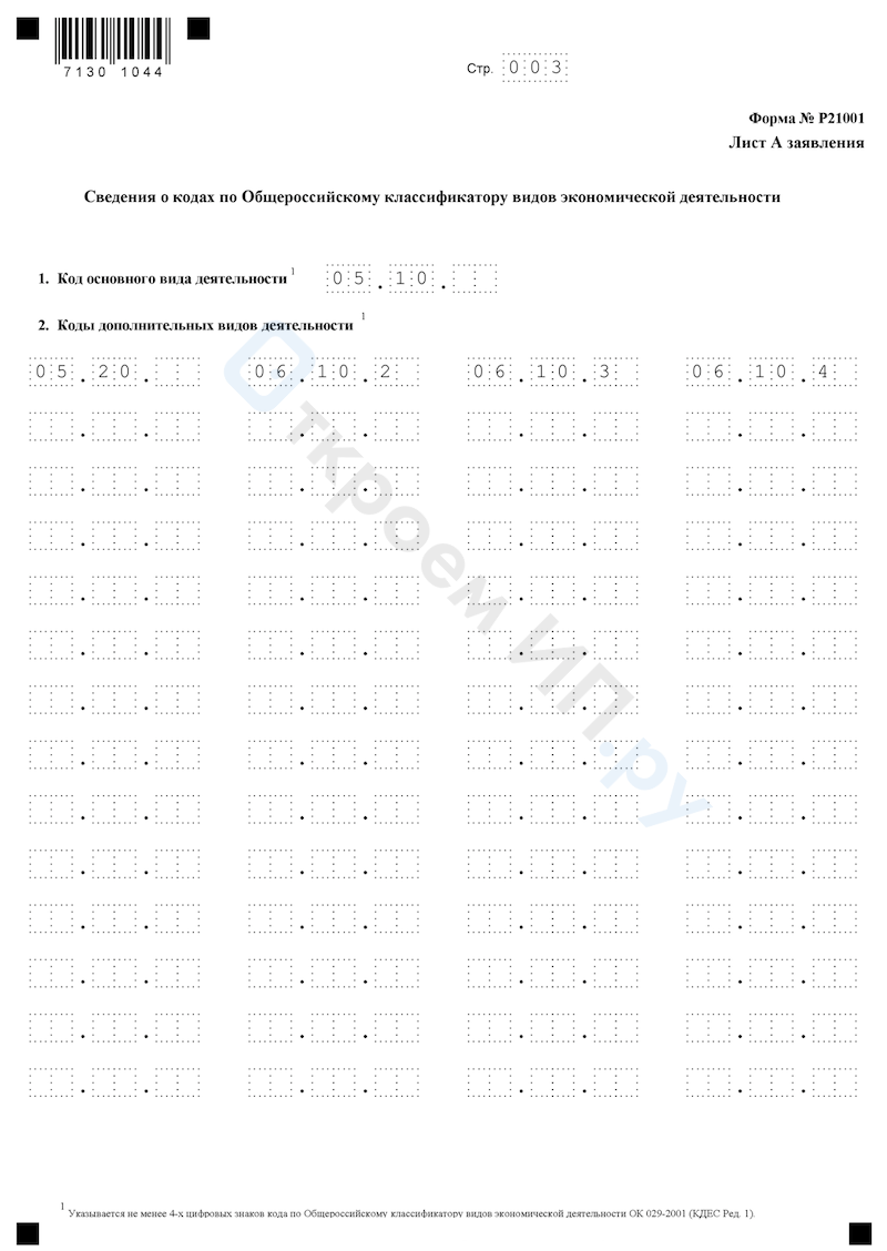 Образец формы Р21001 страница 3